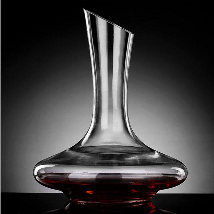 플랫베이스 레드 와인 디켄터 1100 ml 우수한 수제 크리스탈 와인 pourer 프리미엄 워터 carafe 두꺼운 벽