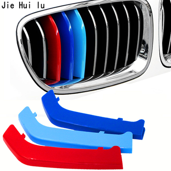 3pcs 3D Car Front Grille Trim Sport Strips Cover Stickers For BMW E46 E60 E84 E90 F16 F30 F34 E92 E93 F30 F10 1 3 5 series X3 GT image