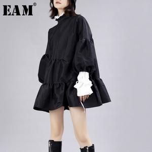 Image 1 - [EAM] נשים שמלה חדש Stand צוואר ארוך לנטרן שרוול Loose Fit הולו מתוך אישיות קפלים אופנה אביב סתיו 2020 JZ349