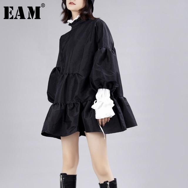 [EAM] נשים שמלה חדש Stand צוואר ארוך לנטרן שרוול Loose Fit הולו מתוך אישיות קפלים אופנה אביב סתיו 2020 JZ349