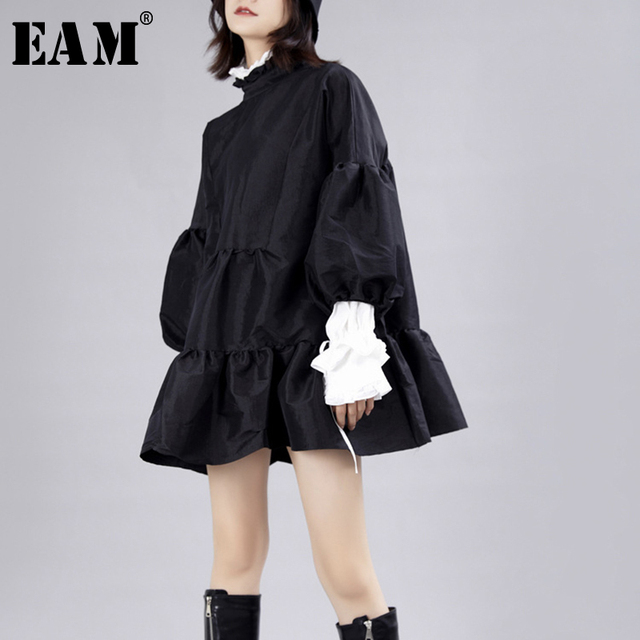 [EAM] Women Dress New Stand Neck Long Lantern Sleeve Loose Fit Hollow Out Personality Pleated Fashion Spring Autumn 2020 JZ349