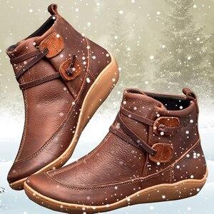 Осенние короткие плюшевые панковские ботинки женская обувь на плоской подошве женские Теплые ботильоны женские Винтажные ботинки из искус...