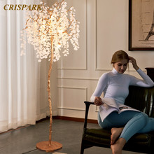 Moderne Luxus Kristall Boden Lampe LED Baum Quaste Lichter Leuchte Messing Indoor Dekorative Beleuchtung(China)