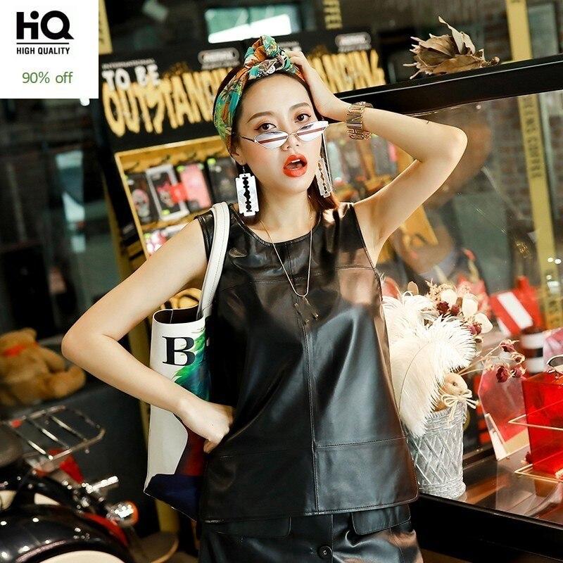 Streetwear Fashion Sleeveless Slim Fit Women Genuine Leather Vests O-Neck Pullover Sheepskin Black Chalecos Para Mujer Plus Size