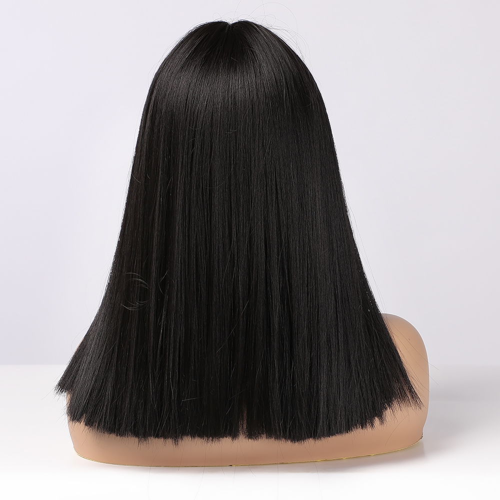 LOUIS FERRE Black Bob Hair Wigs Medium Straight Synthetic Wig with Bangs Fashion Female Cosplay Wig for Women Heat Resistant