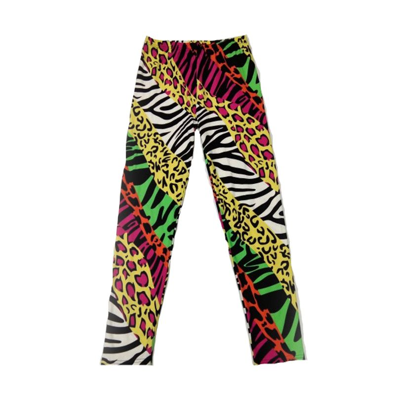 Leggings Female Slim Thin Popular Color Neon Leopard Leggings Female Stretch Milk Silk Neon Zebra Leopard Leggings