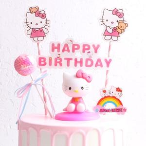 1PC Cartoon Mickey Cat Hello Kitty Happy Birthday Cake Topper 1st Birthday Baby Shower Wedding Princess Party Cupcake Supplies(China)
