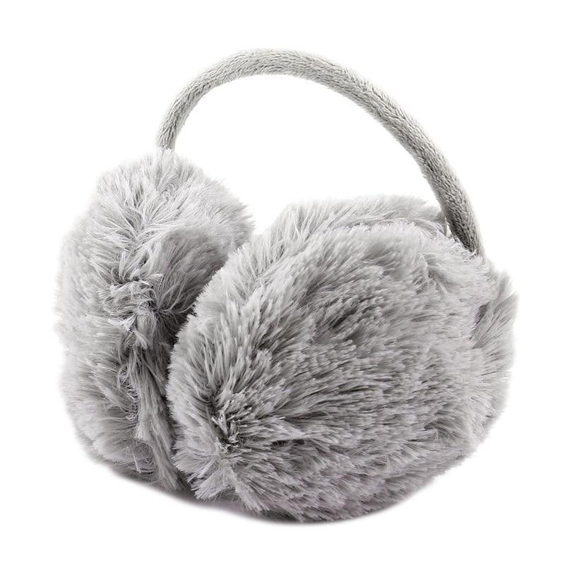 Unisex Winter Headband Fluffy Faux Fur Ear Pad Back Earmuffs Gray