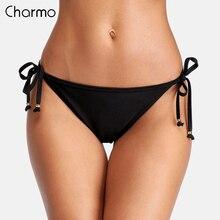 Charmo Women Bikini Bottom Ladies Sexy Swim Trunks Side Bandage Solid Color Swimwear Briefs