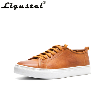 Ligustel Men Casual Shoes Genuine Leather Outdoor Flat Lace-up Low Top Shoes Sneaker Spring Summer Shoes Breathable Comfortable spring summer canvas shoes men breathable casual brand lace up flat shoes comfortable fashion sneakers espadrilles men footwear