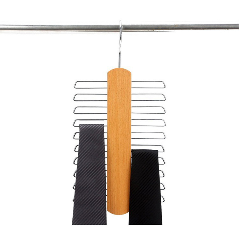 20 Clip Wooden Tie Hanger Scarf font b Closet b font Wooden Rack Storage Bag And