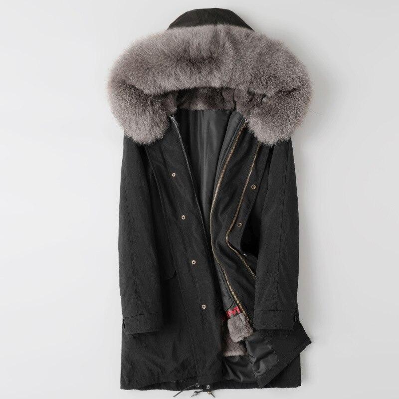 5XL мужские парки, зимняя куртка, длинные пальто с капюшоном, зимняя верхняя одежда, мужской воротник из натурального Лисьего меха, подкладка