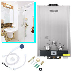 Natural Gas 8L Household Methane Tankless Boiler Instant 2GPM Hot Water Heater Stainless Steel Plus Shower Head