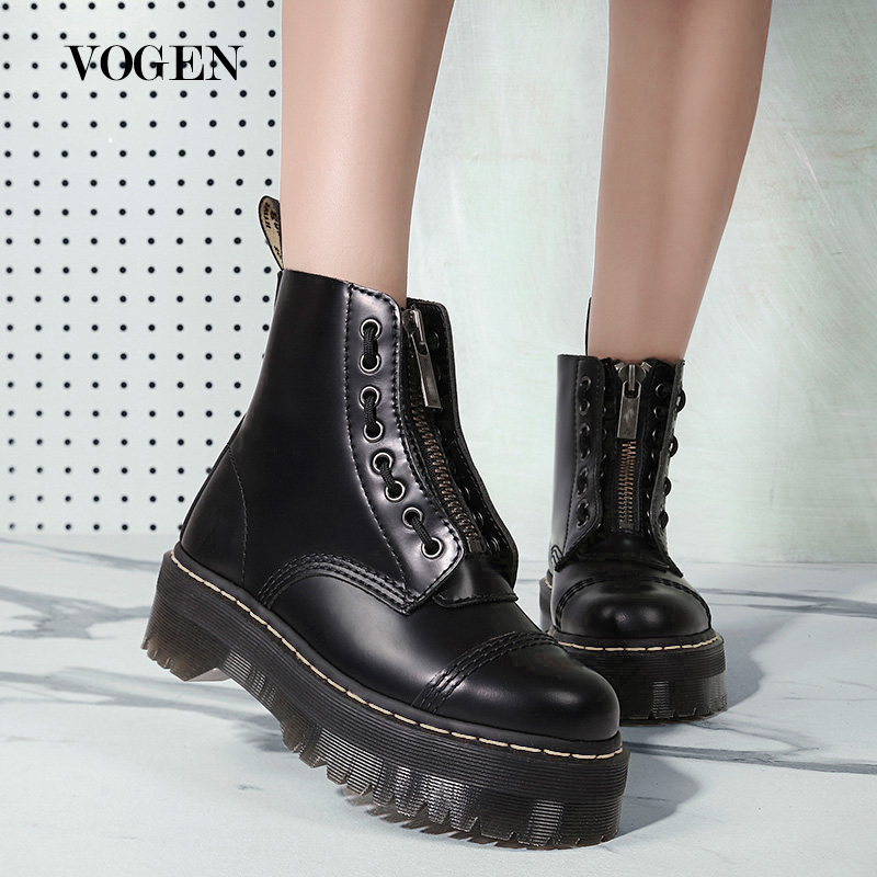 Doc Zipper Women Martins Boots Genuine Leather Ankle Boots Lady Riding Military Luxury Designers Coturno Motorcycle Boots 2020