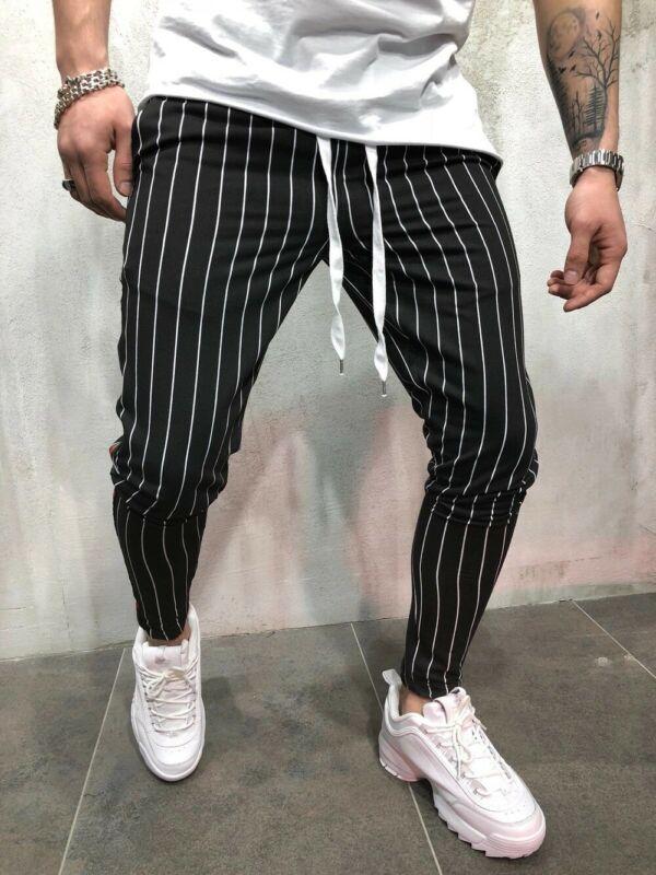 Newest Fashion Wear Take Cotton Blend Men Striped Long Casual Pants Slim Fit Skinny Urban Trousers Joggers Sweatpants