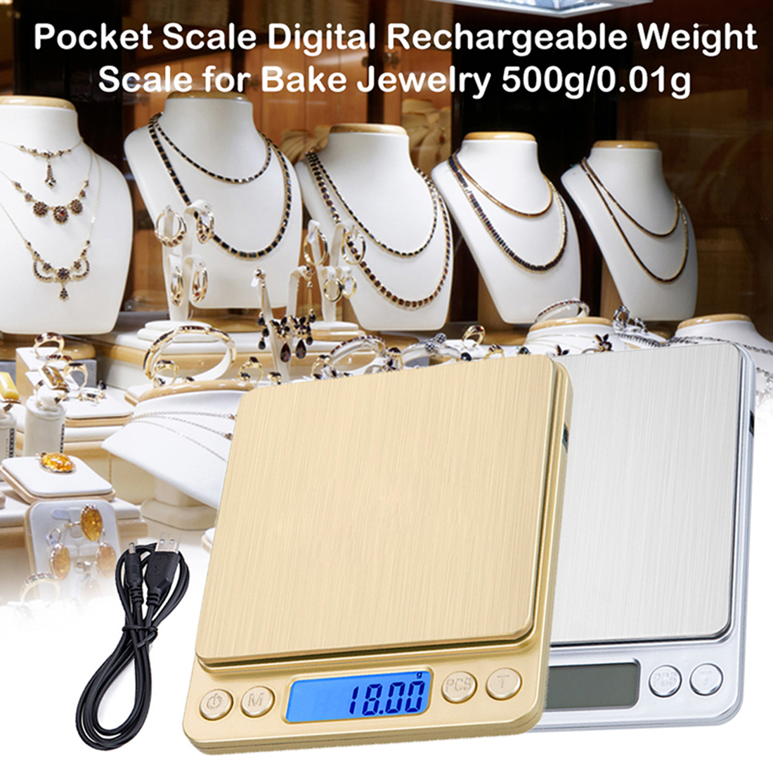 DIDIHOU Scale Digital Rechargeable Weight Scale For Bake Jewelry 500g/0.01g  Stainless Steel Digital High Accurate Scale Gold