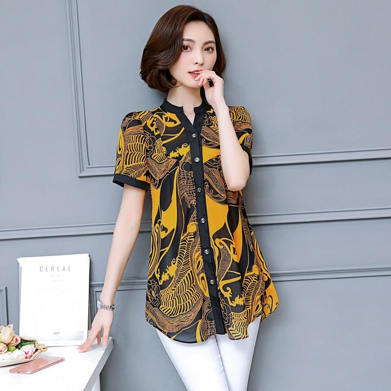 COIGARSAM 5XL Plus Size Fashion Print Shirt Womens tops New Summer Chiffon Women shirts Red Yellow 9883