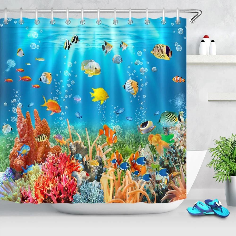 ocean shower curtains sea animal marine life colorful tropical fish corals reefs bath curtain undersea for bathroom with hooks