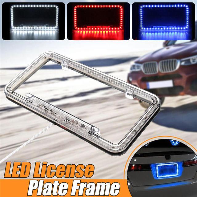 High Light 12V LED Universal White 54 Light Car Front Rear Number License Plate Frame Cover