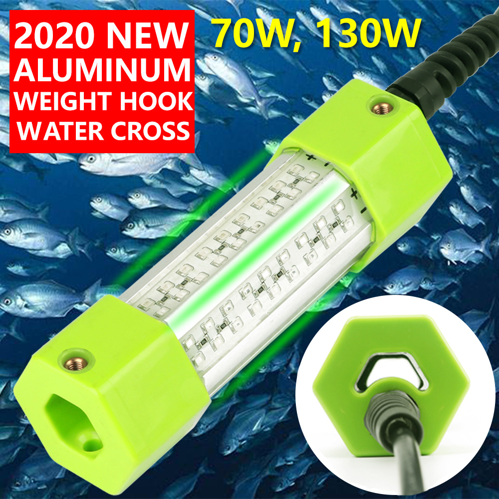 70W 130W DC 12V Green White Blue Yellow IP68 Aluminum High Power LED Fish Attracting Lure Submersible Underwater Fishing Light