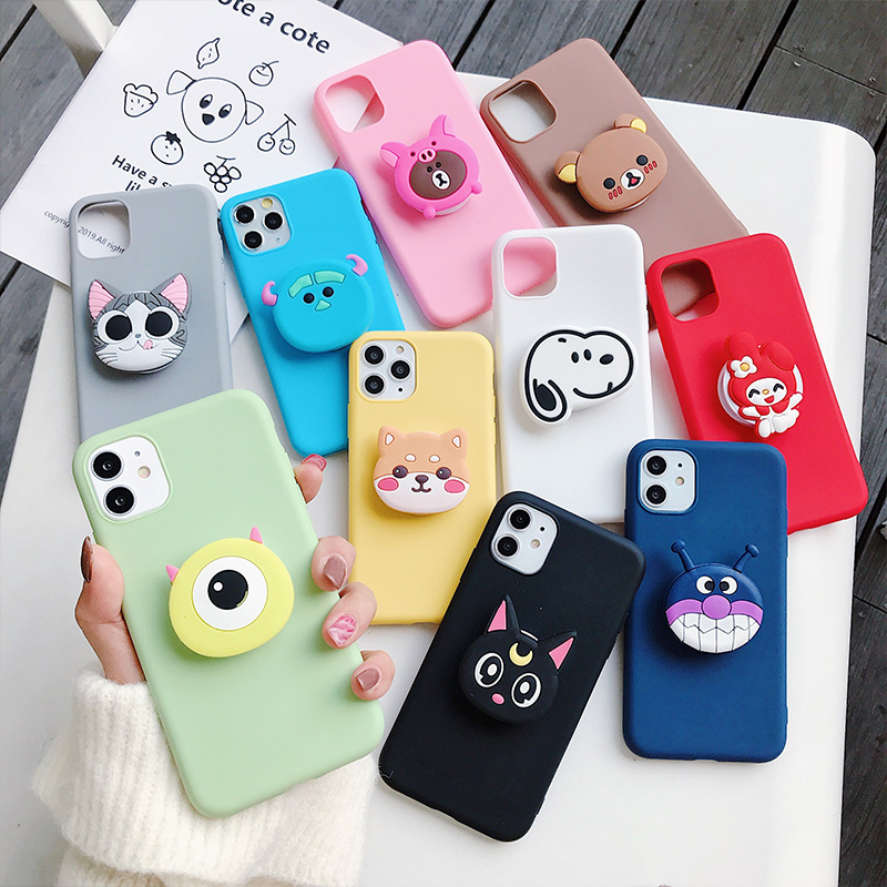 3D silicone cartoon phone holder <font><b>case</b></font> for <font><b>samsung</b></font> galaxy A50 A30 A40 A20 <font><b>A10</b></font> A70 A60 A80 A7 2018 a8s <font><b>cute</b></font> stand soft back cover image