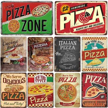 Pizza Bbq Fast Food Restaurant Vintage Metal Tin Sign Retro Metal Plaque Art Poster Home Decor Kitchen Restaurant Wall Painting