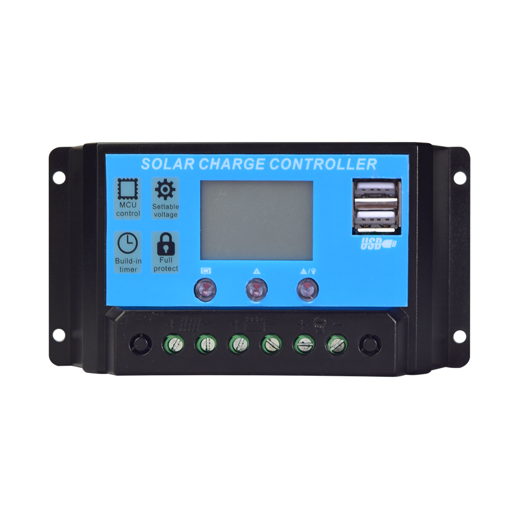 12V 24V 10A /20A / 30A / 40A Solar Charge Controller PWM+Dual USB Output Solar Controller Module Kits Boat Yacht RV Motor Marine