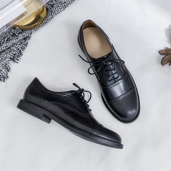 VANGULL women Genuine Leather s spring and autumn cow leather Leather career shoes Brocken shoes Black classic retro fashion keerygo women s shoes inside and outside the full leather lace leather shoes comfortable feet big shoes