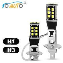2 pçs h1 h3 lâmpada led 6000k branco auto nevoeiro 15smd 2835 faróis de nevoeiro lâmpadas condução correndo lâmpada automóveis dc 12v