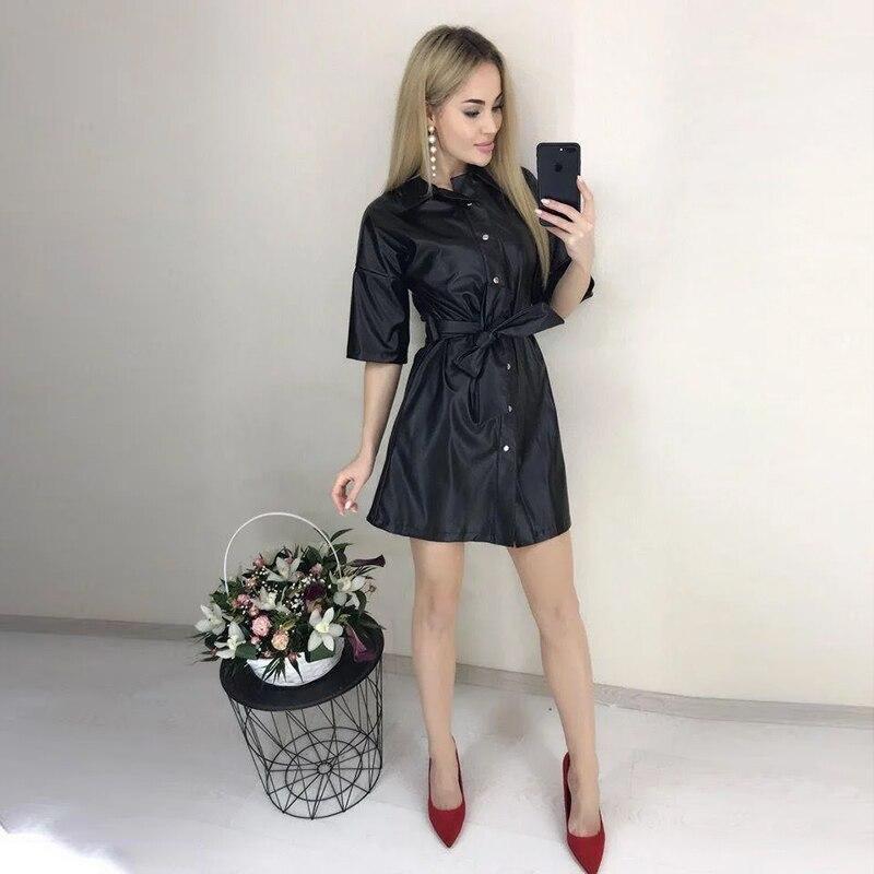 Women Pu Leather A Line Sashes Party Dress Ladies Half Sleeve Turn Down Collar Fashion Black 2020 Casual Mini Dress Vintage