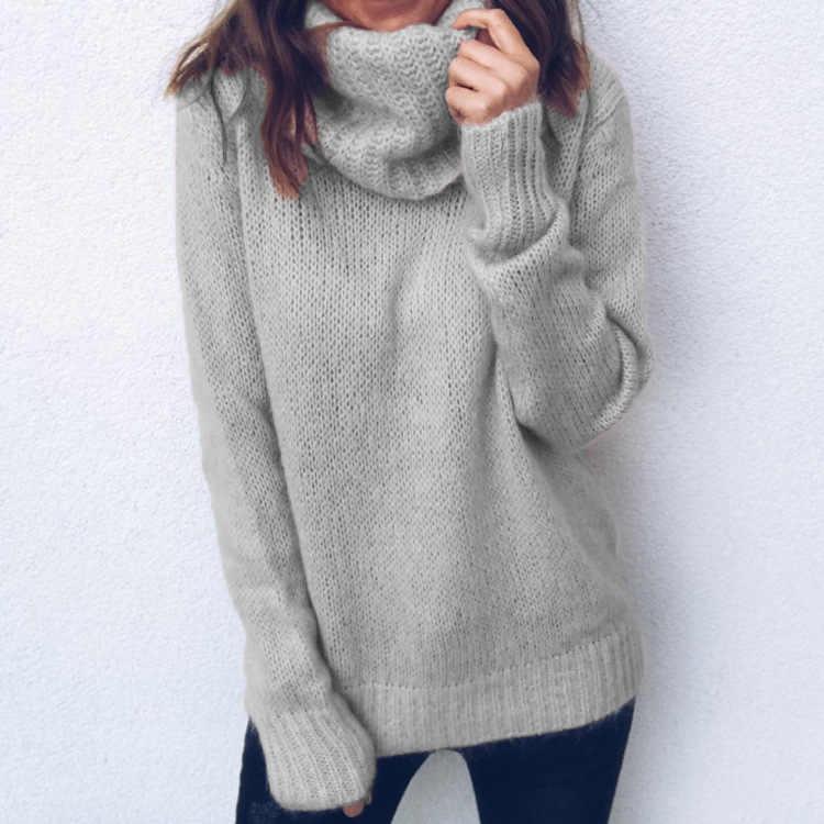 2019 Otoño Invierno mujer suéter de cuello alto de punto Casual suave cuello polo Jersey moda suelta mujer elasticidad jerseys