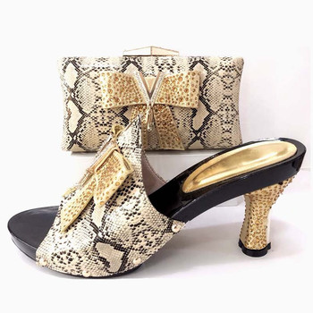 Italian Shoe with Matching Bags gold High Quality African Shoe and Bag Set for Party In Women Nigerian Shoes and Bag Set