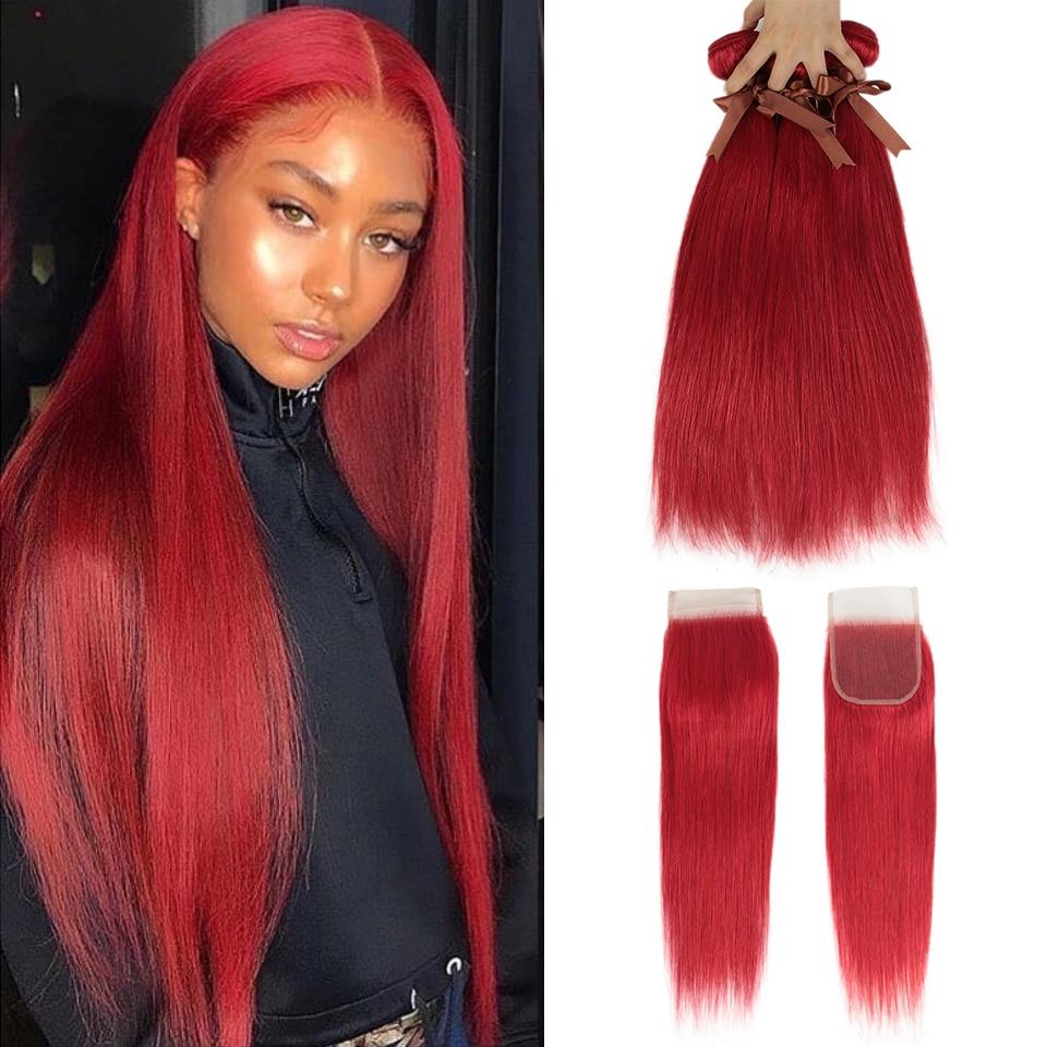 Preto pérola vermelho pacotes com fechamento brasileiro remy em linha reta cabelo humano laranja pacotes com fecho frete grátis