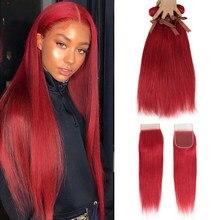 Черные жемчужные красные пряди, бразильские Прямые Человеческие волосы Remy, оранжевые пряди, бесплатная доставка
