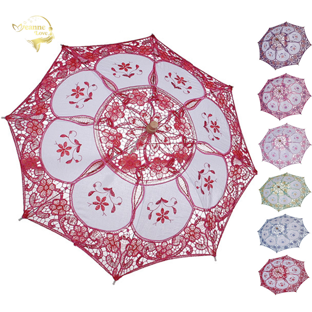 Cotton Little Girl Sun Umbrella Flower Girl Lace Umbrella Red Pink Green Kids Parasol Photography Umbrella Wedding Decoration