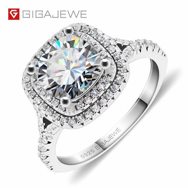 Gigajewe 2.5ct 8.0mm vvs d colorido almofada 18k branco banhado a ouro 925 prata moissanite lindo anel de noivado garra configuração 1