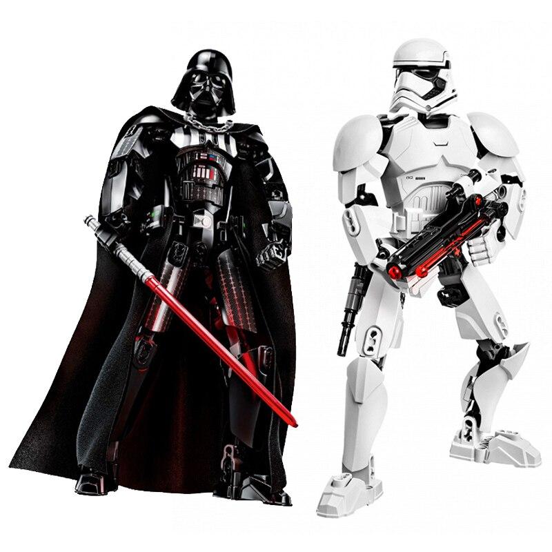 Star Wars Para armar figura Stormtrooper Darth Vader Kylo Ren Chewbacca Boba Jango Fett General Grievou figura de acción de juguete para chico