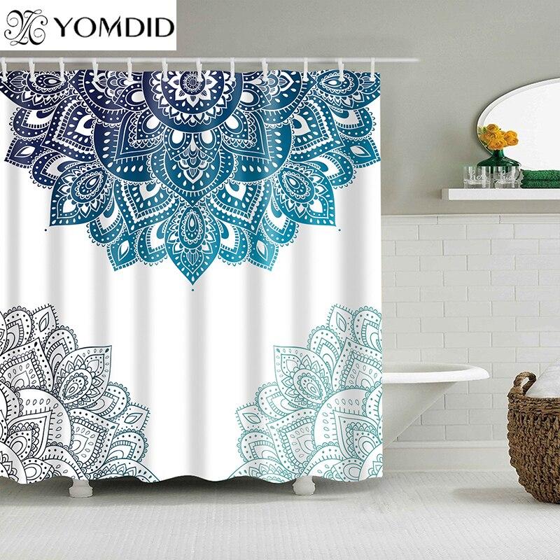 ผ้าม่านกันน้ำ Mandala ดอกไม้พิมพ์ผ้าม่านอาบน้ำโพลีเอสเตอร์ผ้าเรขาคณิตบ้านตกแต่งห้องน้ำ 12 ตะขอ