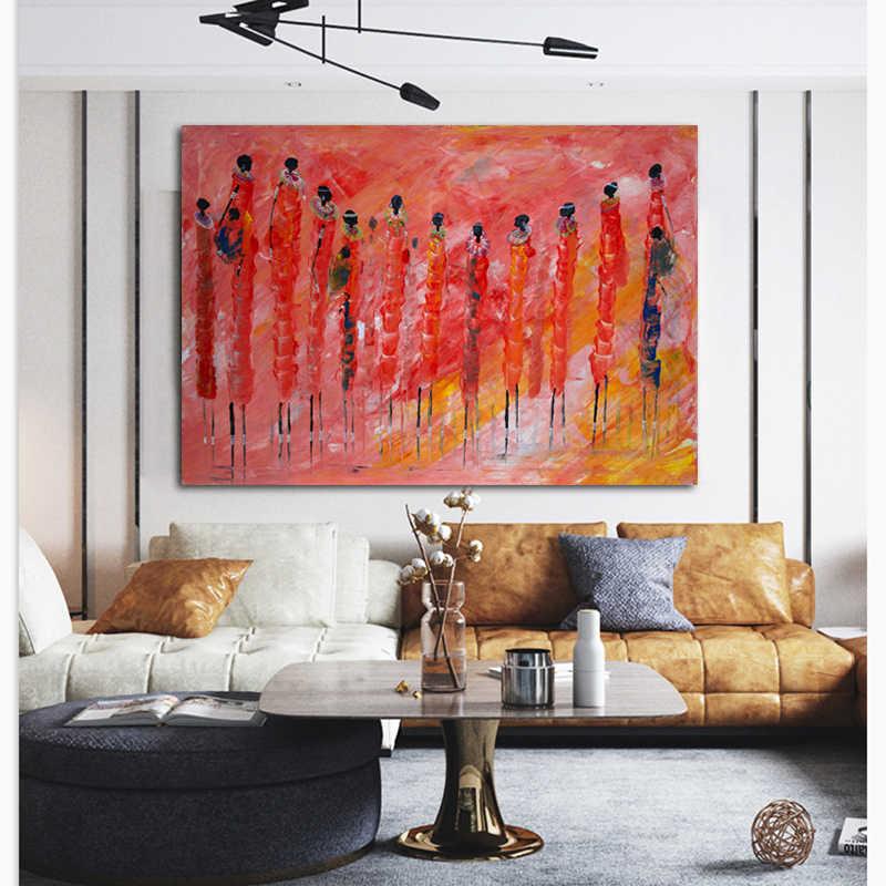 WANGART Cuadros Etnicos obrazy plemienne abstrakcyjne afrykańskie kobiety kolorowy obraz olejny obraz do salonu druk na płótnie