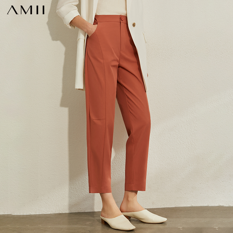 AMII Minimalism Spring Summer OLstyle Caual High Waist Women Pants Fashion Solid Straight Female Casual Trousers 12040260