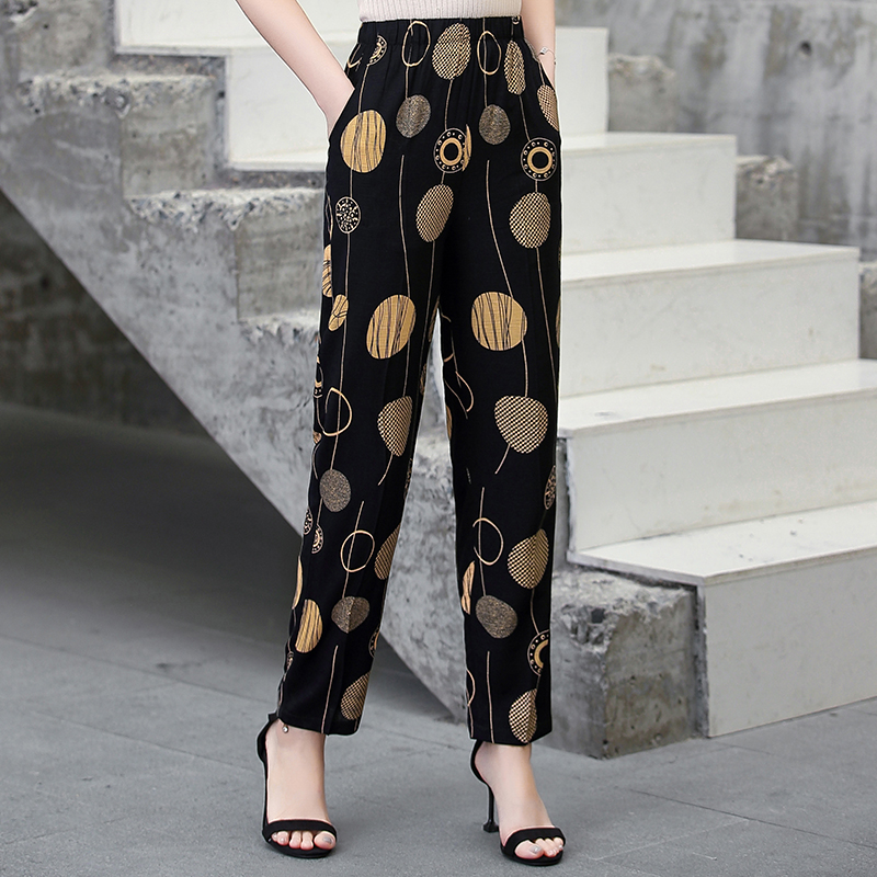 22 Colors 2020 Women Summer Casual Pencil Pants XL-5XL Plus Size High Waist Pants Printed Elastic Waist Middle Aged Women Pants 19