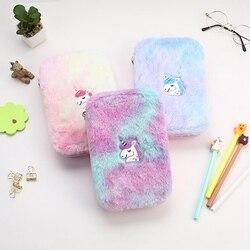 Śliczne kolorowe jednorożec pluszowy piórnik dla dzieci prezent kosmetyczne biurowe etui szkolne na prezent dla studentów