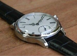 Image 3 - 44mm GEERVO wypukłe lustro biała tarcza azjatyckich 6497 17 klejnotów mechaniczna ręka wiatr ruch zegarek męski zegarki mechaniczne gr313 g8