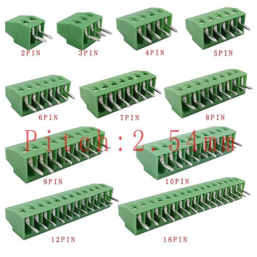 Винтовой клеммный блок с шагом 2,54 мм/0,1 дюйма, 2P, 3P, 4P, 5P, 6P, 7P, 8P, 9P, 10P, 12P, 16-контактные клеммы 150 в, 6A для кабеля 26-18AWG