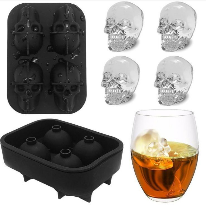 Ice Cube Mold Tray 3D Four Round Skulls Shape Flexible Silicone Maker Halloween Party Supply Kitchen Dining Bar Tool