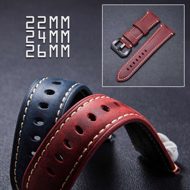 GETALIA Handmade Top Leather Strap 22mm Tough Guy Deep Brown Wine Red Watchband for Men Sports Watch Classic Crazy Horse Leather
