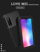 For Xiaomi Mi 9/Xiaomi Mi9 Cover LOVE MEI Shock Dirt Proof Water Resistant Metal Armor Cover Phone Case for Xiaomi Mi 9 6.39''