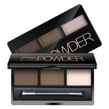 Трехцветная пудра для бровей, натуральные трехмерные тени для век, пудра с зеркалом для макияжа