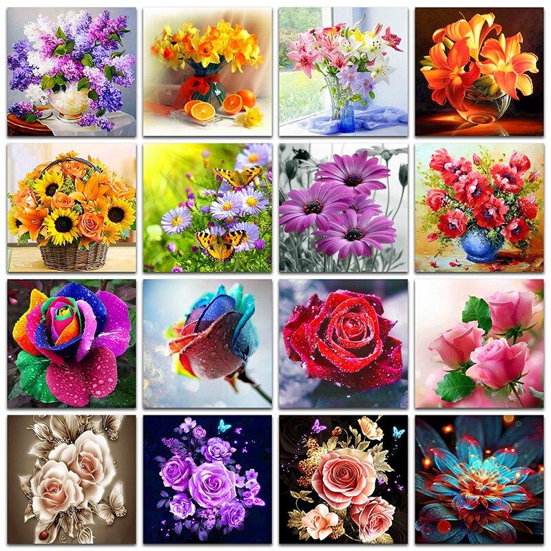 Quadrado completo e redondo broca 5d diy pintura diamante colorido flores 3d bordado ponto cruz 5d decoração da sua casa gif