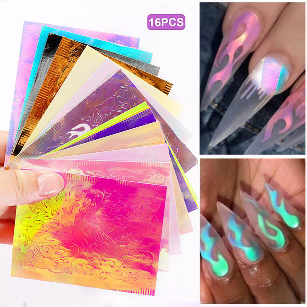 16pcs DIY Laser Illusion Flame Nail Sticker Colorful Fire Reflections Design Self Adhesive Nail Art Sticker Decoration